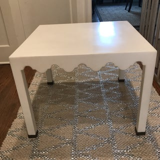 White Lacquered Seagrass Coffee Side Table Preview