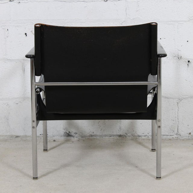 Leather & Chrome Sling Chair, #657, by Charles Pollack for Knoll For Sale - Image 5 of 10
