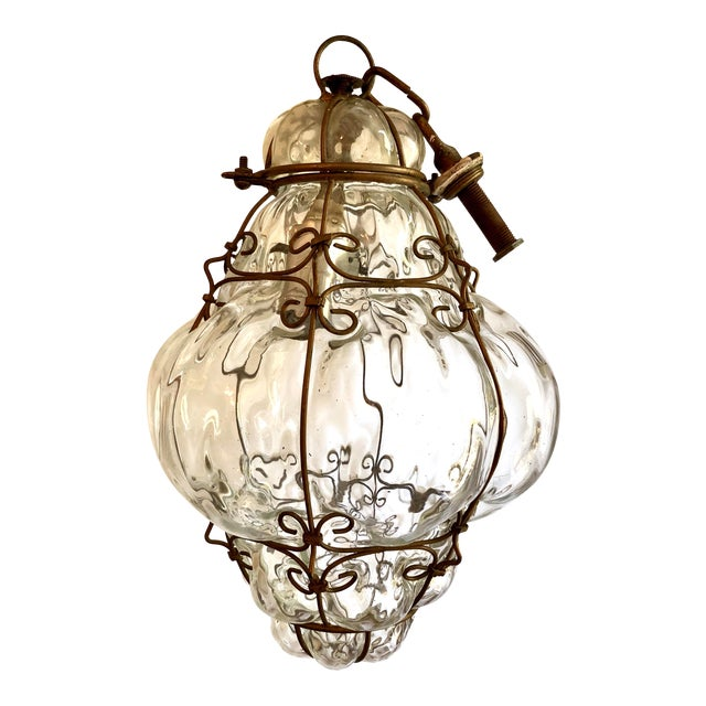 Caged Clear Murano Glass Lantern Pendant For Sale
