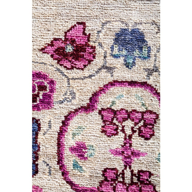 Traditional Ivory Suzani Runner Rug For Sale - Image 3 of 4