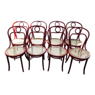Set of 8 Fameg Red Brasserie Chairs For Sale
