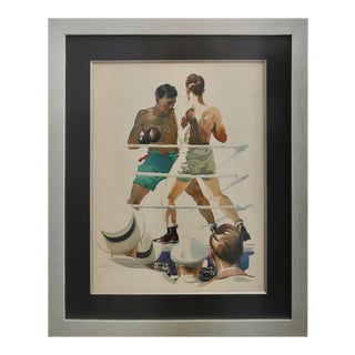 """""""Ringside"""" Early 20th Century Watercolor of a Boxing Match For Sale"""