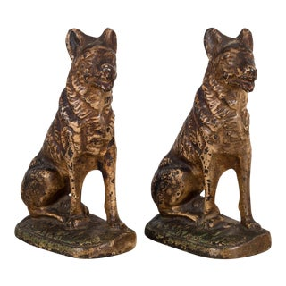 Vintage Steel German Shepards Bookends C 1940-1950s