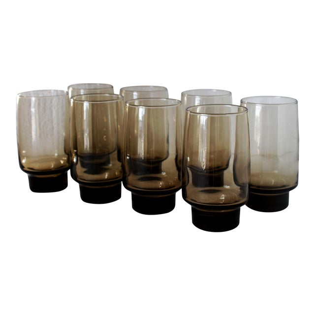 Libbey Mid-Century Tawny Smoke Brown Glasses- Set of 8 - Image 1 of 4