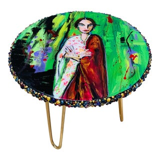 Modern Hand-Painted Drink Table For Sale