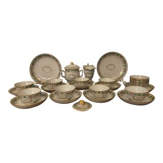 Antique 1790 Chinese Export Pink, Green and Gilt Hand Painted Monogrammed Tea Service - 25 Piece Set For Sale