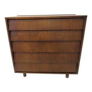 Mid Century Walnut Slanted Front 5 Drawer Dresser For Sale