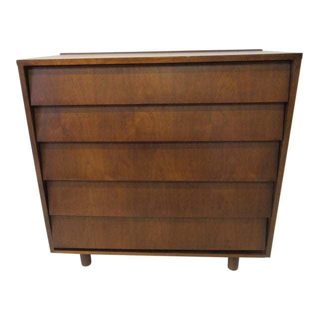 Mid Century Walnut Slanted Front 5 Drawer Dresser For Sale