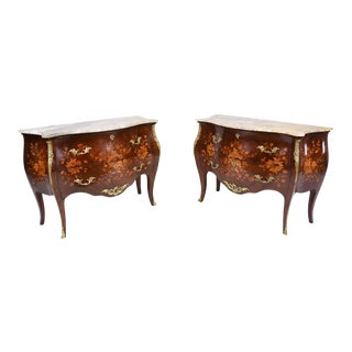 French Louis XV-Style Commodes or Chest of Drawers - A Pair