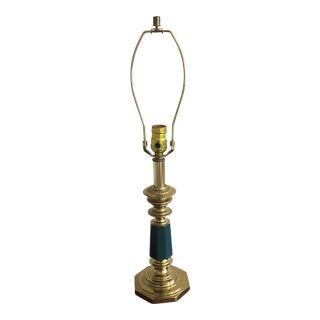 1970s Brass Detailed Green Lamp For Sale