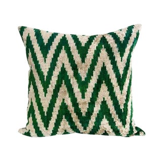 Kim Salmela Turkish Silk Velvet Ikat Chevron Throw Pillow For Sale
