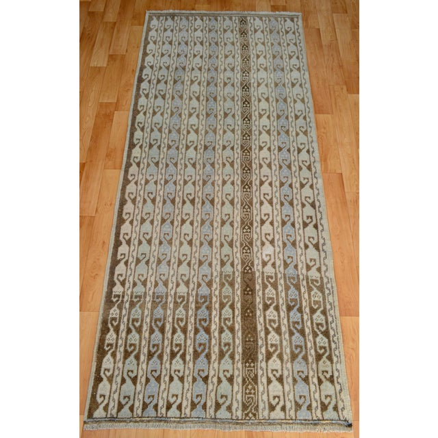 Turkish Hand-Knotted Oushak Runner Rug - 3' X 7' - Image 5 of 9
