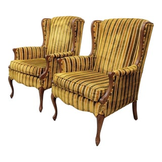 1970s Vintage Velvet Striped Wing Chairs- A Pair For Sale