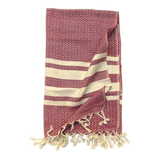 Turkish Tamam Cranberry Diamonds Handwoven Cotton Towel For Sale