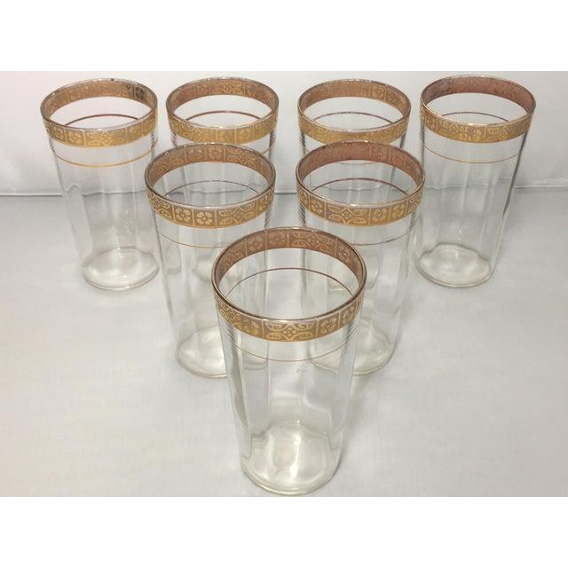 Vintage Optic 18k Gold Etched Band Glassware - Set of 21 For Sale - Image 4 of 11