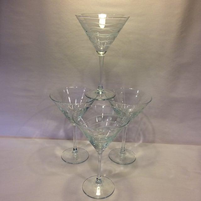 Vintage Etched Crystal Martini Glasses - Set of 4 - Image 6 of 11