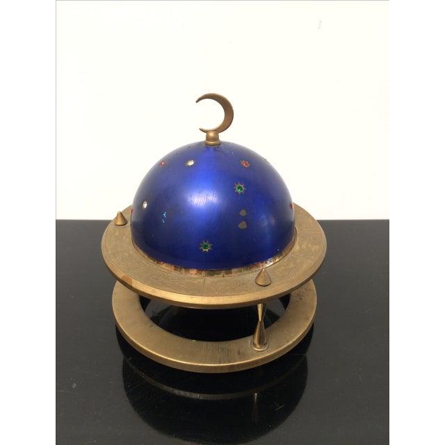 Mid-Century Modern Blue Zodiac Globe Pop-Up Cigarette Holder For Sale - Image 3 of 8