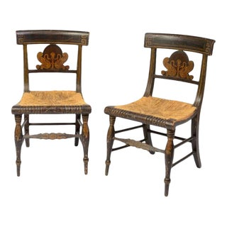 Early 19th Century American Painted Side Chairs - a Pair For Sale