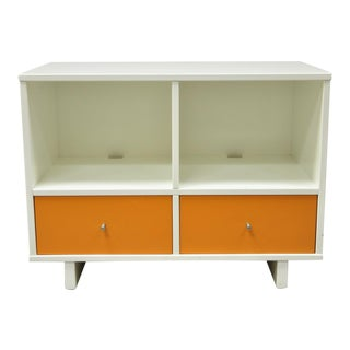 "20th C Contemporary Modern White Orange 34"" Credenza Stereo Tv Television Stand For Sale"