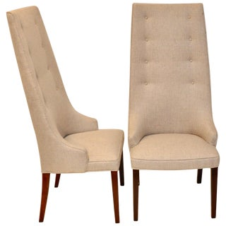 Pair of Midcentury Tall Back Dining Chairs From Denmark For Sale
