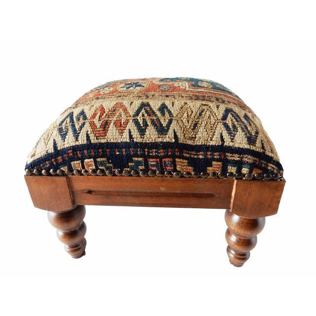 Antique Caucasian Sumac Wooden Footstool - Image 4 of 6