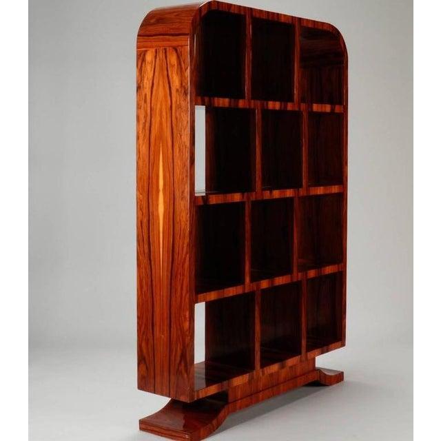 Brown 1940s Vintage French Art Deco Style Burl Wood Étagère For Sale - Image 8 of 9