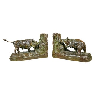 Pair of Bronze Animalier Bookends Retailed by Theodore B Starr Inc For Sale