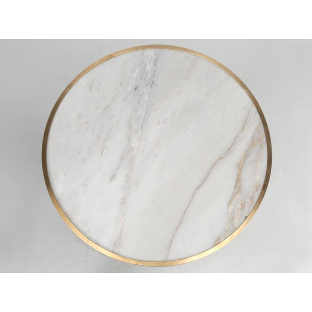 French Bistro Table With a Marble Top and Brass Edging For Sale - Image 9 of 10