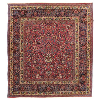 RugsinDallas Square Hand Knotted Antique Persian Mashad Rug - 6′8″ × 7′5″ For Sale