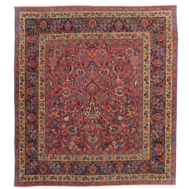 RugsinDallas Square Hand Knotted Antique Persian Mashad Rug - 6′8″ × 7′5″ - Image 1 of 2
