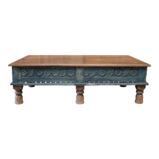 Vintage Moroccan Style Carved Wood Coffee Table For Sale