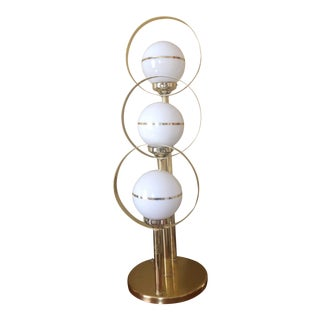 Mid-Century Brass Orb Table Lamp For Sale