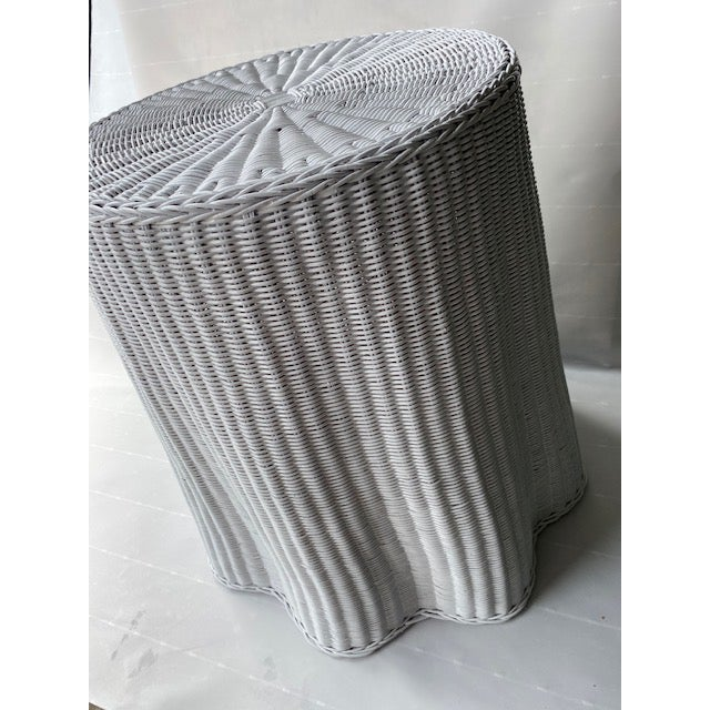 1960s Faux Drape Wicker Table For Sale - Image 4 of 6