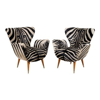 Mid Century Zebra Club Chairs- A Pair For Sale