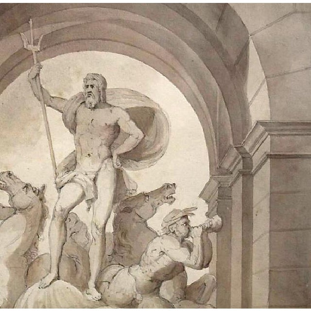 Renaissance 1838 Palazzo Torlonia, Rome Grisaille Neptune Fountain Watercolor Painting For Sale - Image 3 of 11