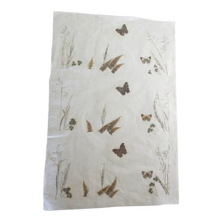 1960s Vintage Hand Made Washi Paper Shoji Panel With Pressed Plants and Butterflies For Sale