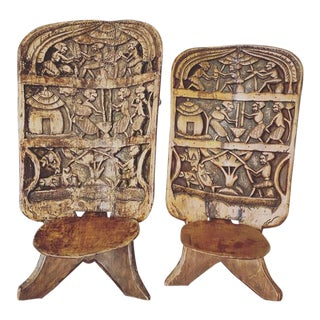 Antique Hand Carved Palaver Chairs - a Pair For Sale