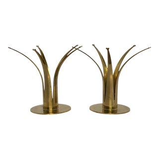 1950s Vintage Ystad Sweden Brass Candle Holder Set - a Pair For Sale