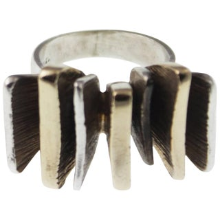 Mid-Century Modernist Silver and Gold Ring For Sale