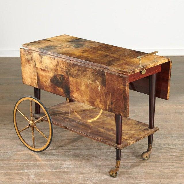 Gold 1950s Aldo Tura Drop Leaf Bar Cart For Sale - Image 8 of 8