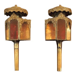 19th C Petite Carriage Lanterns - a Pair For Sale