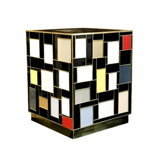 Mondrian Glass Side Table by MarGian Studio For Sale