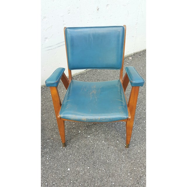 Vintage Gio Ponti Chairs in Teal Leather - Pair For Sale - Image 5 of 8