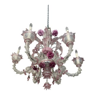 Pink Murano Glass Chandelier For Sale