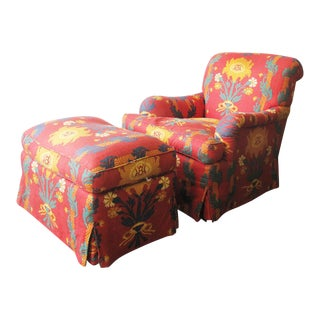 Late 20th Century Le Manach Fabric English Roll Arm Easy Chair & Ottoman For Sale