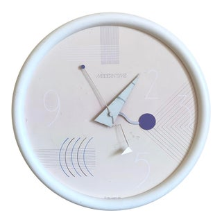 1980s Canetti Memphis Post Modern Wall Clock For Sale