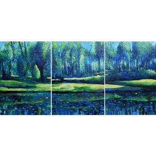 """Forest Lake Triptych"" Large Geoff Greene Painting For Sale"
