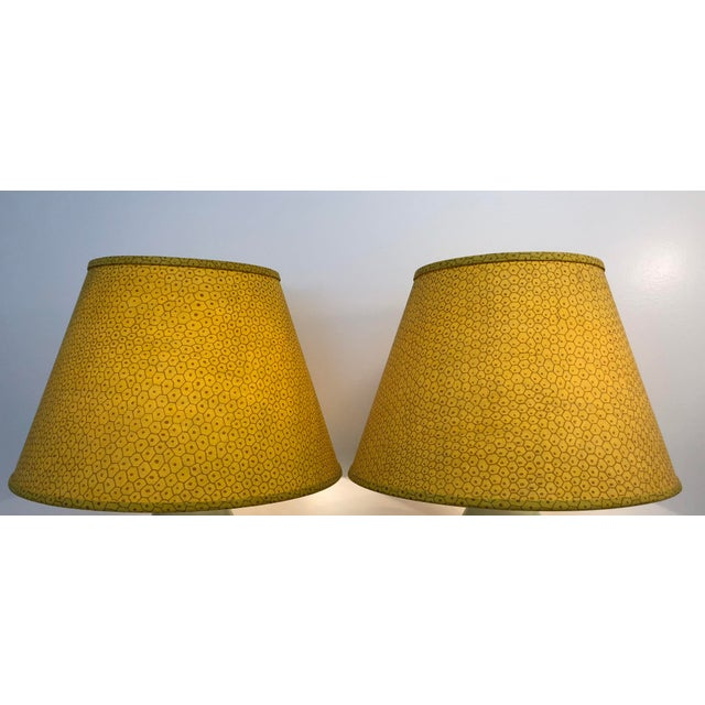 2010s Paul Ferrante Dark Yellow Fabric Custom Shades - A Pair For Sale - Image 5 of 5