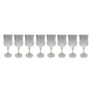 French Crystal Wine Glasses- Set of 8 For Sale