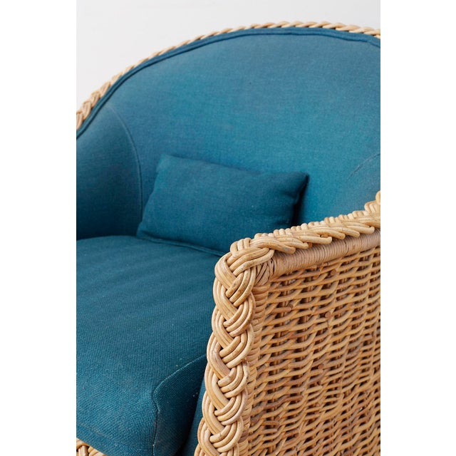 Teal Pair of McGuire Rattan Wicker Lounge Chairs and Ottoman For Sale - Image 8 of 13
